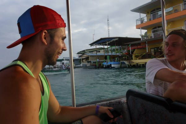 James on a boat coming into Bocas Town