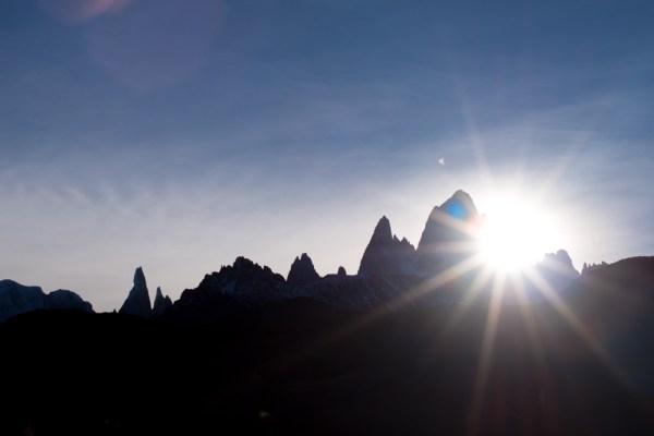 Patagonia sunset behind Fitz Roy