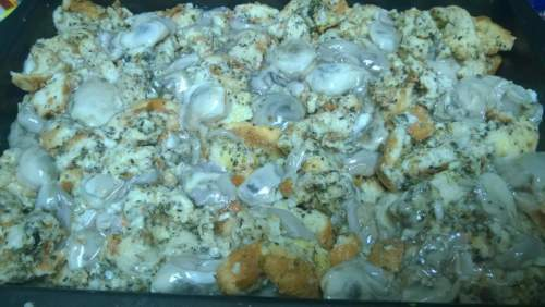 Oyster Stuffing, Ready for the Oven at Big Ragu's home