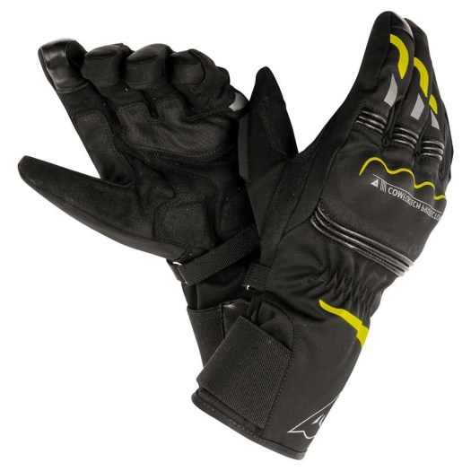 Image result for dainese gloves TEMPEST D-DRY BLACK YELLOW