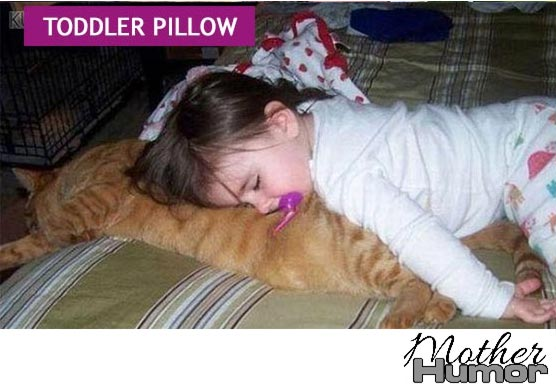 Cute picture of girl sleeping on cat