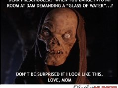 Funny picture of what a mom looks like in middle of night