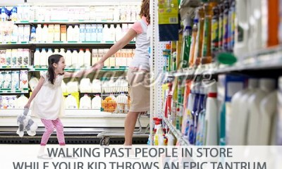 Picture of mom walking through grocery store as daughter throws tantrum