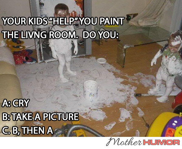 PICTURE OF KIDS PAINTING LICING ROOM MESS
