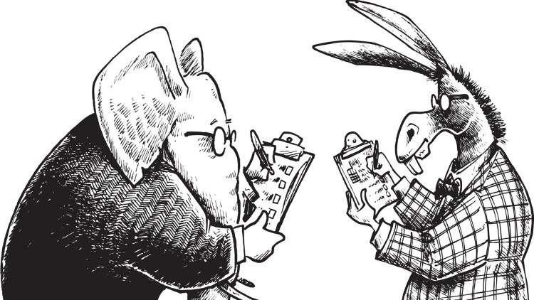 Pen and ink style illustration of a democrat donkey and a republican elephant taking a poll. Layered and grouped for easy color edits. Scale to any size. Check out my