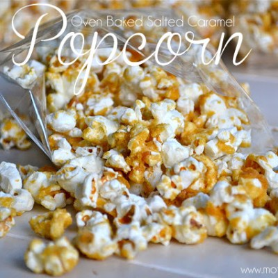 Oven Baked Salted Caramel Popcorn