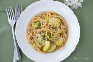 Spaghetti with Brussels Sprouts and Lemon Butter   www.motherthyme.com