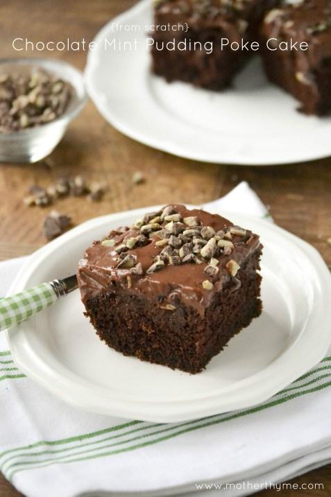chocolate mint pudding poke cake