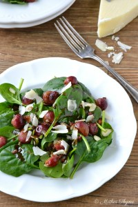 Spinach Salad with Roasted Grapes and Warm Balsamic Dressing   www.motherthyme.com