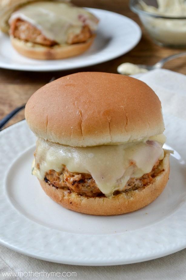 Chicken Cordon Bleu Burgers | www.motherthyme.com
