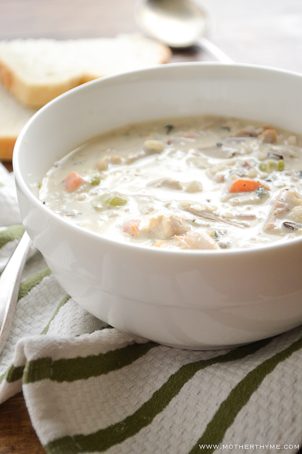 Creamy Chicken and Wild Rice Soup from www.motherthyme.com