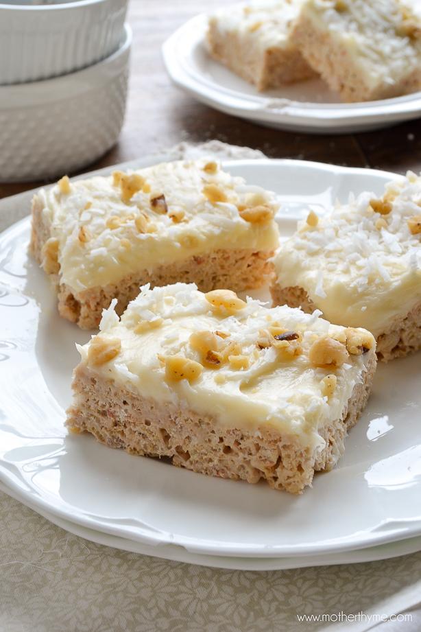 Carrot Cake Rice Krispie Treats - www.motherthyme.com