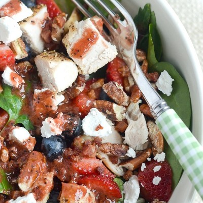 Nut and Berry Chicken Salad with Strawberry Poppy Seed Dressing