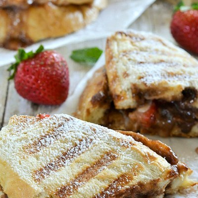 Roasted Strawberry, Brie and Nutella Grilled Cheese