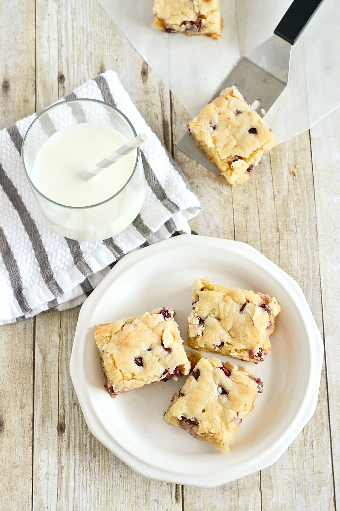 White Chocolate Pomegranate Blondies | www.motherthyme.com