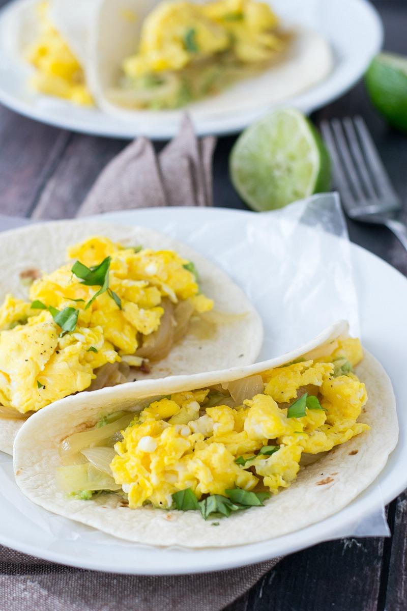 Egg, Caramelized Onion and Avocado Breakfast Tacos - 6 WW Smart Points/254 per taco | www.motherthyme.com