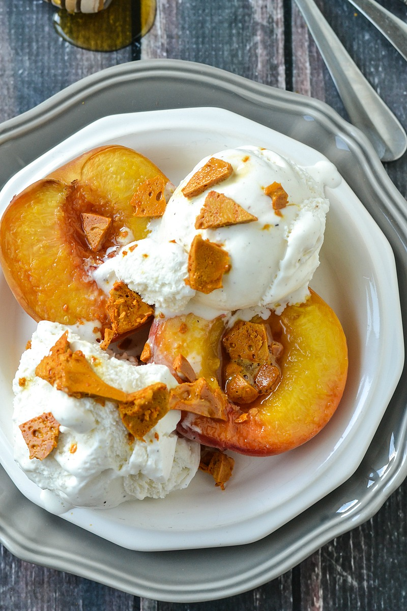 Roasted White Peaches with Honeycomb and Vanilla Ice Cream | www.motherthyme.com