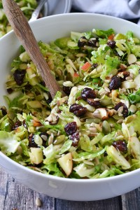CRUNCHY BRUSSELS SPROUT SALAD WITH FRUIT AND NUTS
