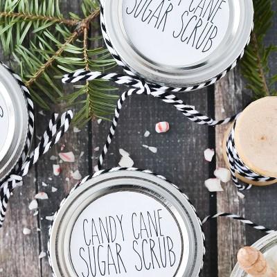 Candy Cane Sugar Scrub +  Free Printable Labels