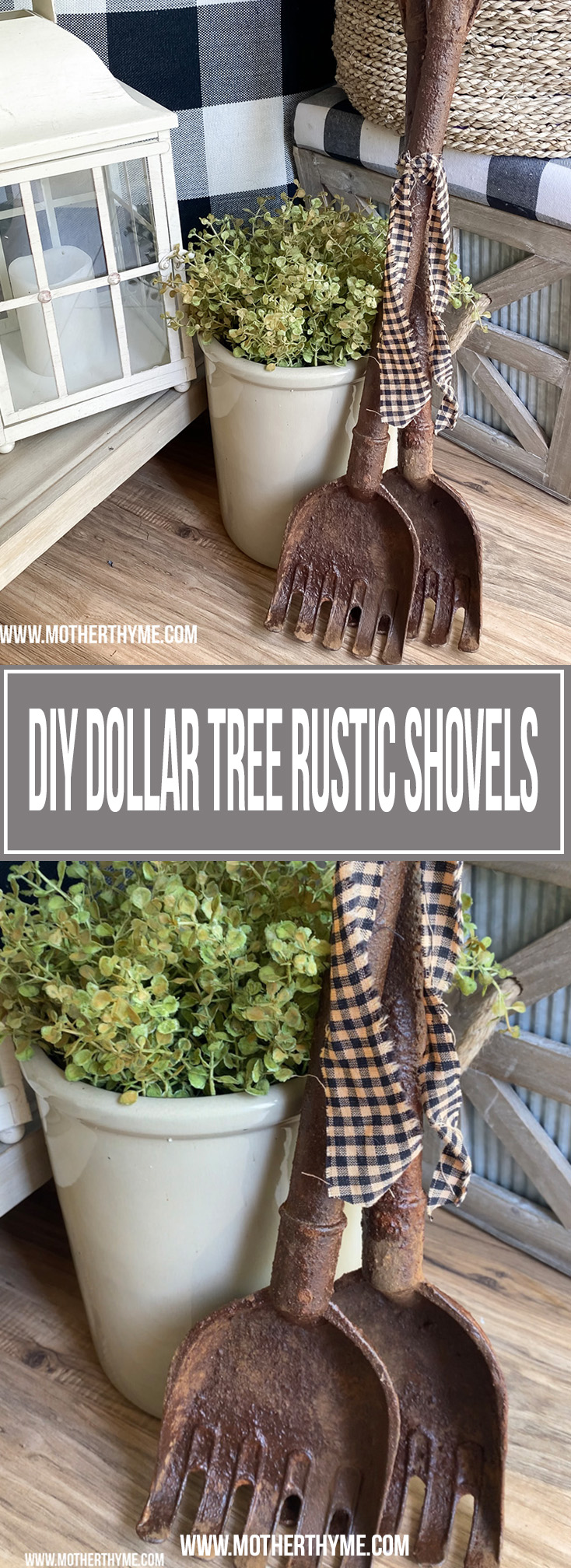DIY DOLLAR TREE RUSTIC SHOVELS