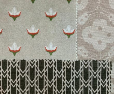 tan and olive geometric and floral fabric swatches