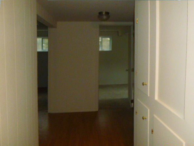 hallway with white painted wood paneling and storage between studs