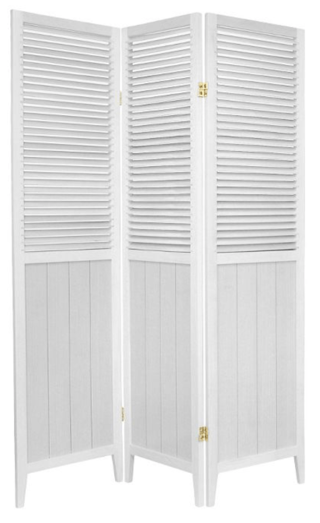 6 ft. Tall louvered Beadboard Divider 3 Panels - Oriental Furniture