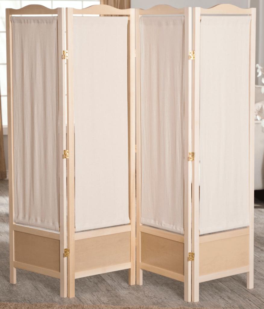 Brooks Canvas 4 Panel Room Divider - Natural