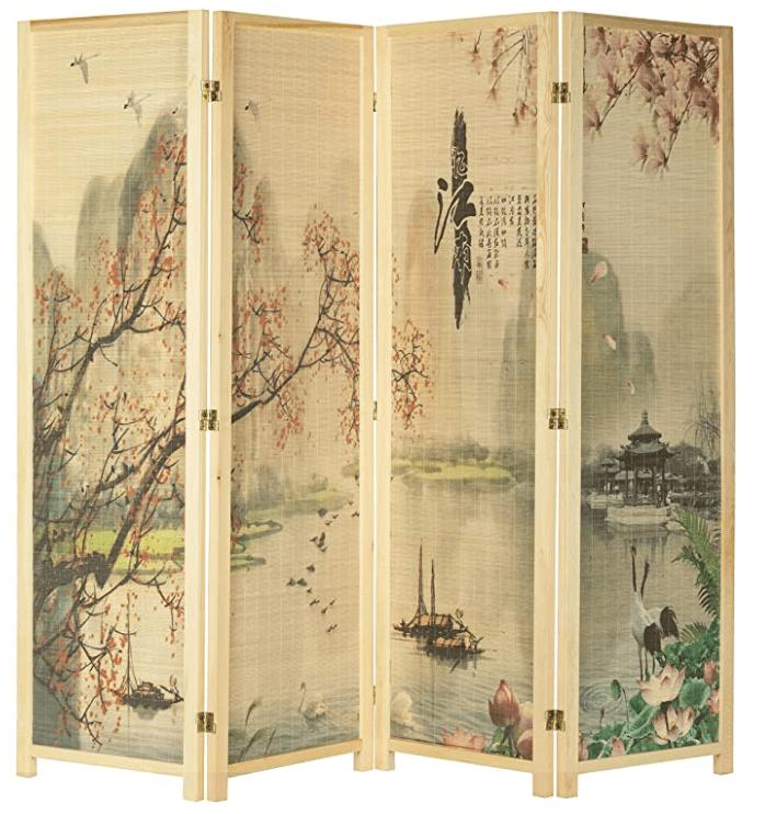 4-Panel Asian-Inspired Bamboo-Screen Cherry Blossom Scene Room Divider