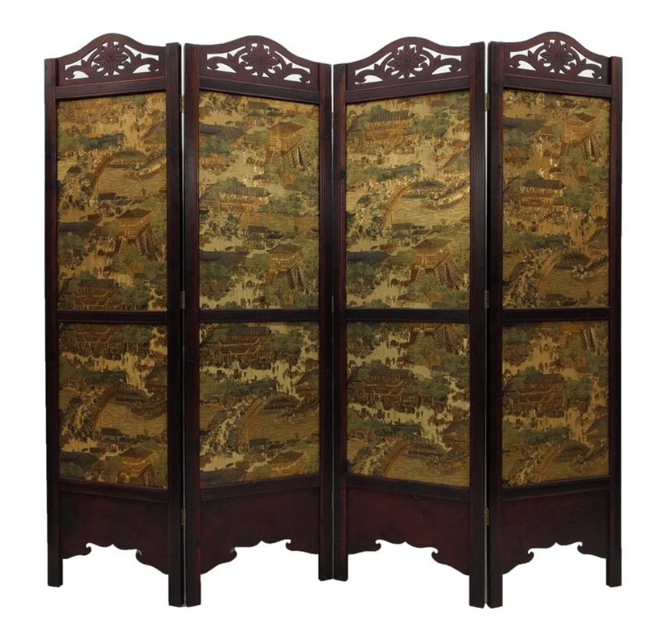 Vintage Ancient City-style Wood 6 foot Tall Extra-wide Room Divider Screen