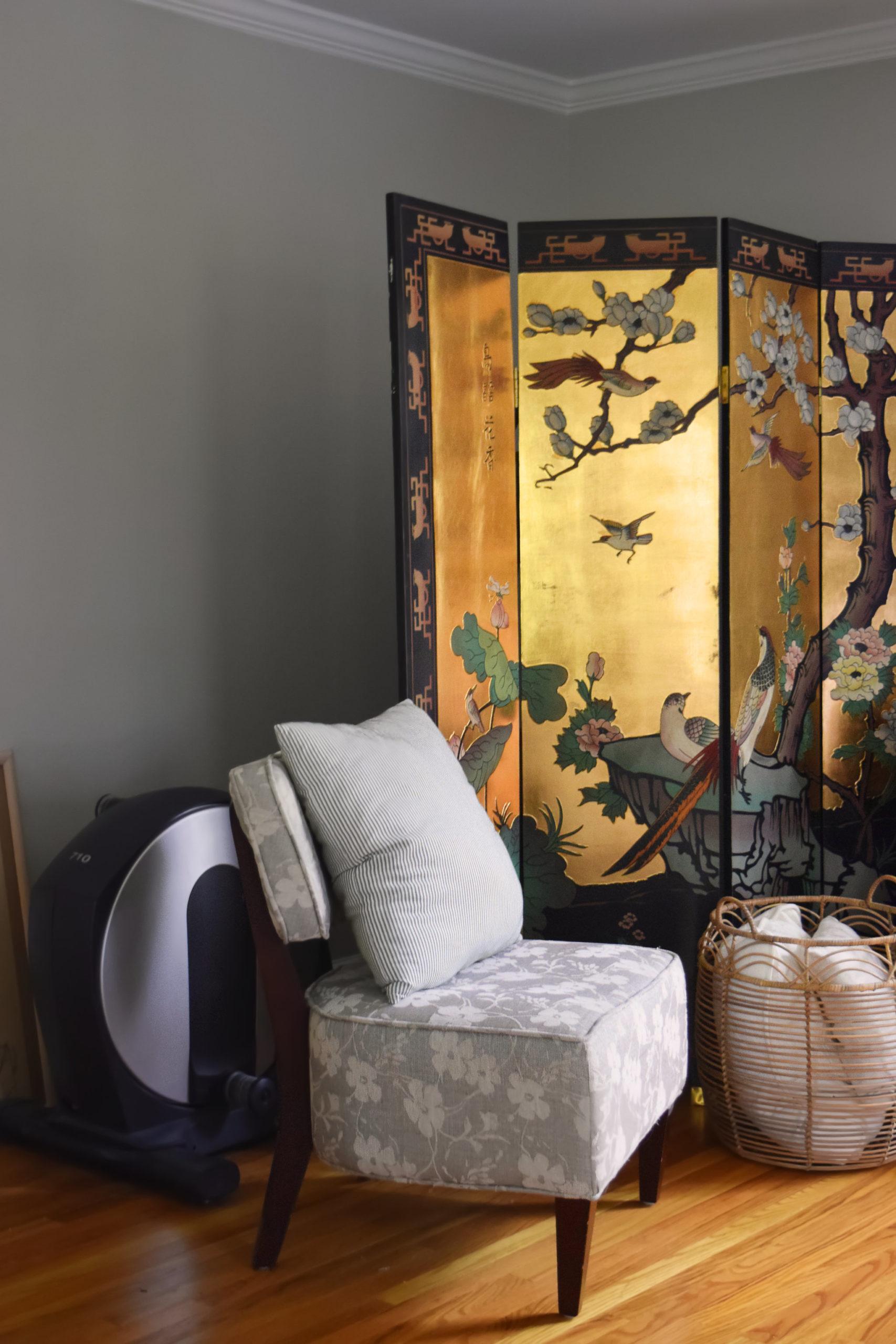 elliptical hiding behind chinoiserie screen