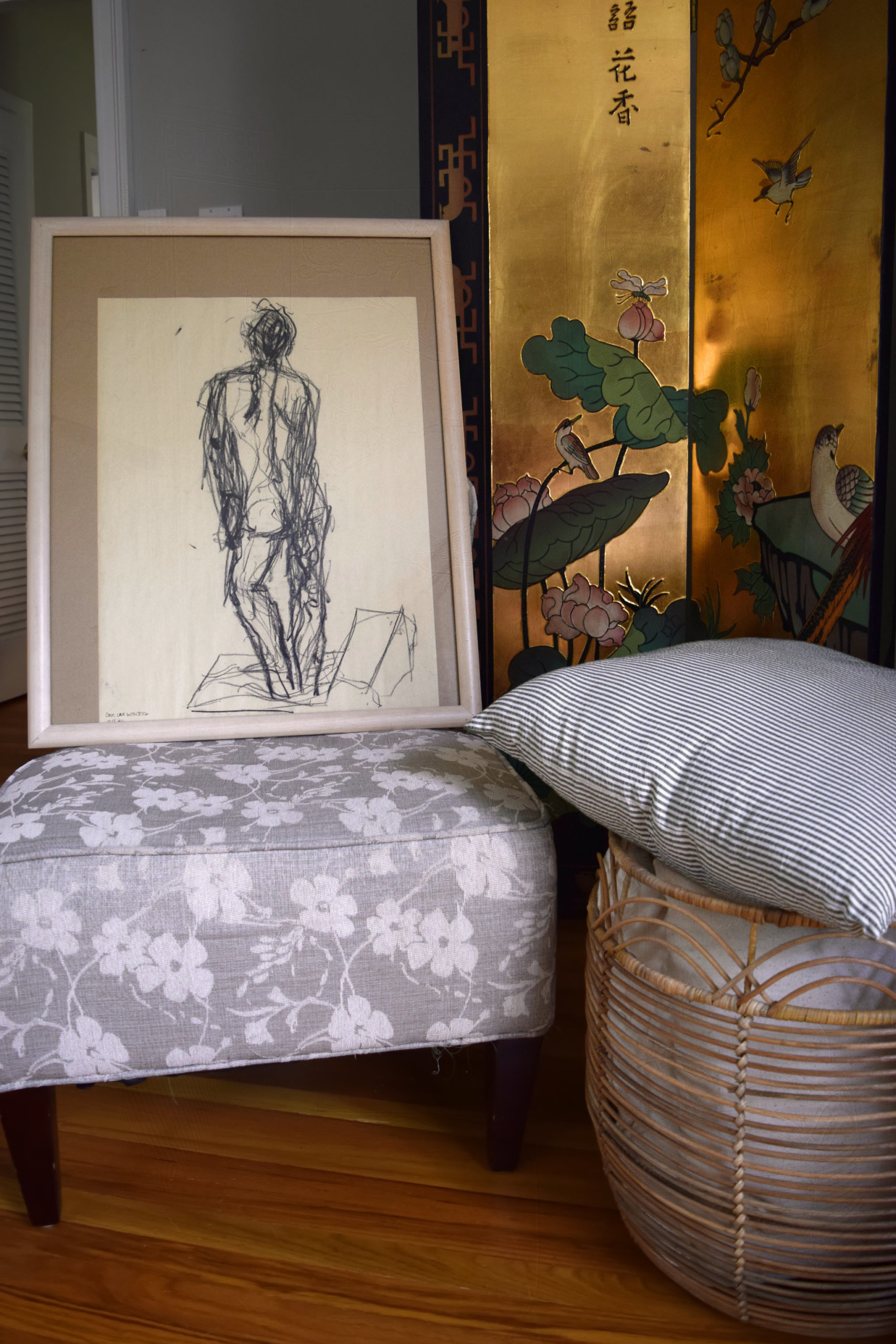 nude gesture drawing framed in front of our hiding elliptical