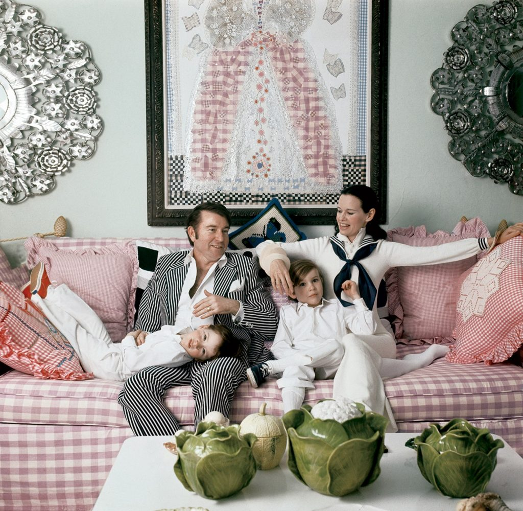 pink-gingham sofa and dress-gloria-vanderbilts-homes
