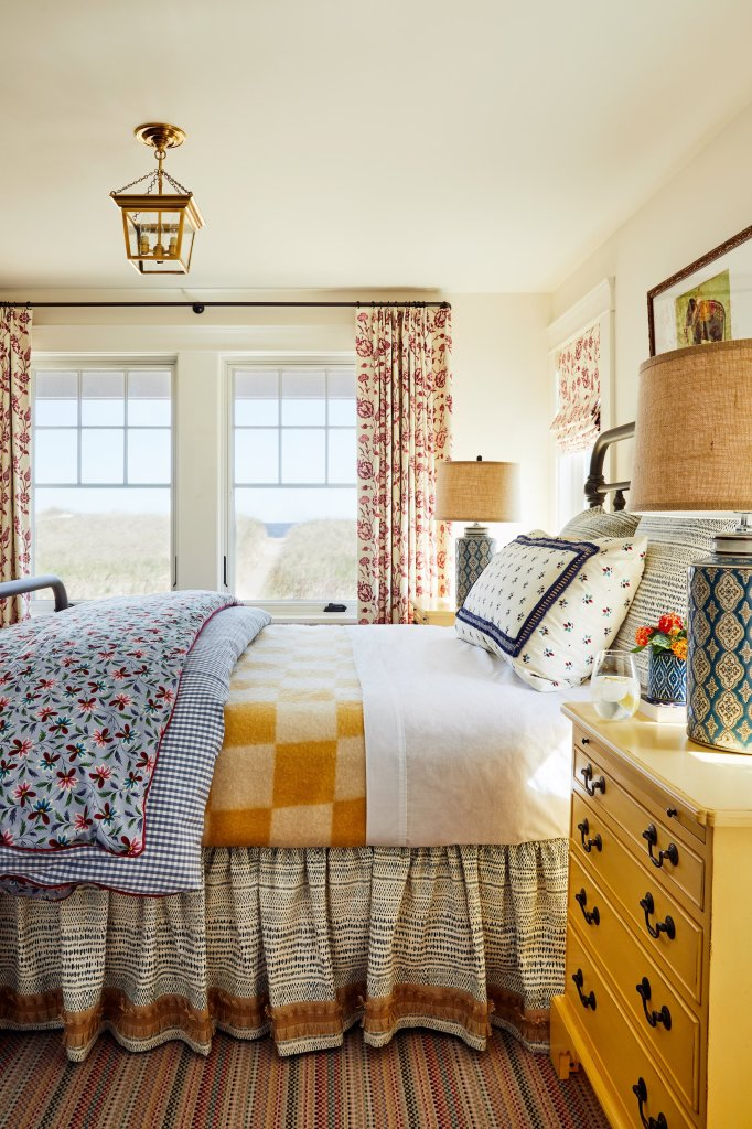 blue and yellow patterned master bedroom katie rosenfeld kennebunkport