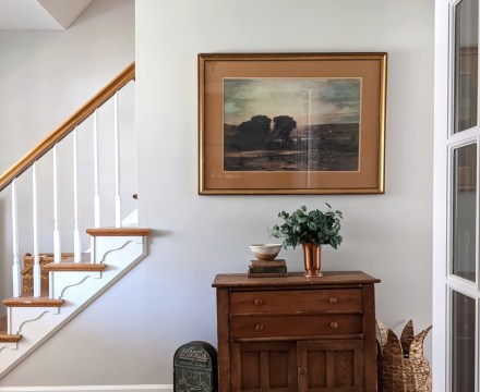 spring home tour foyer table staircase