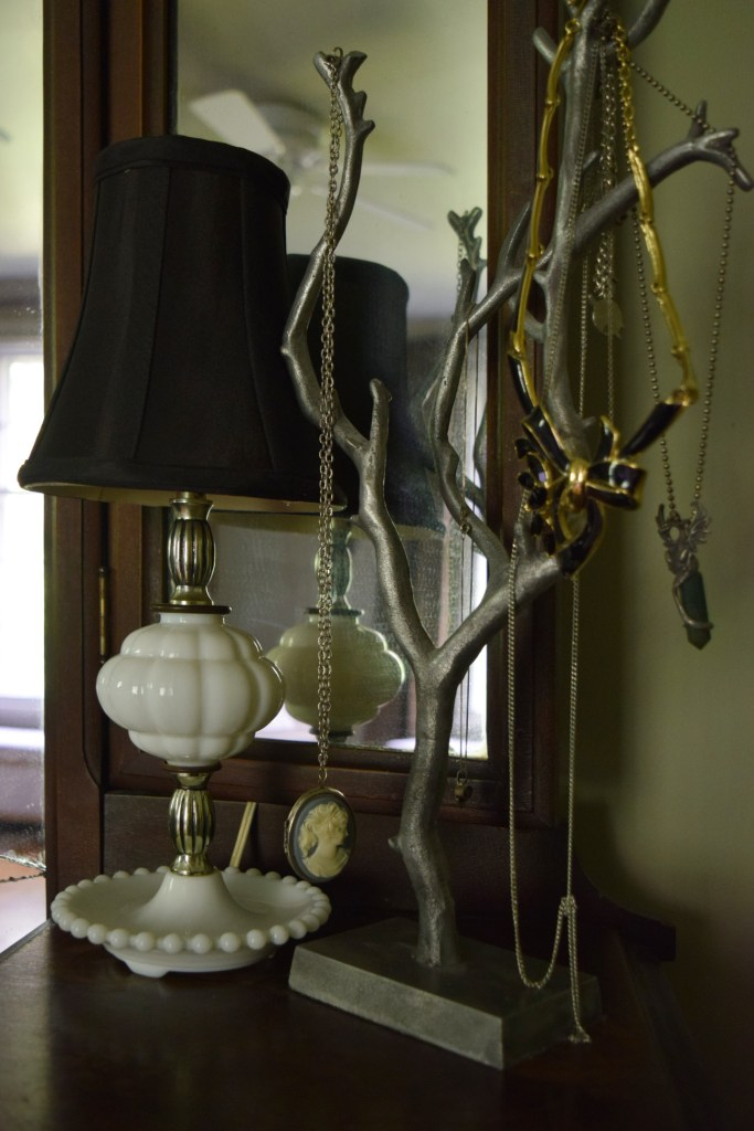 milk glass hobnail lamp and tree jewelry stand