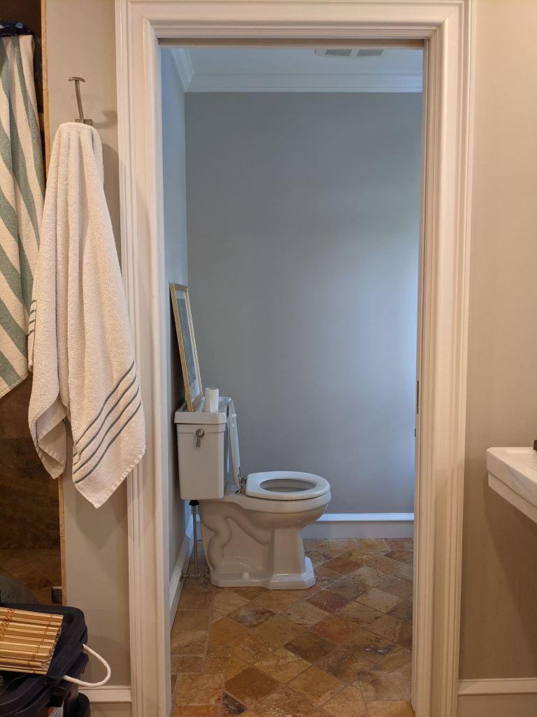 water closet before door open