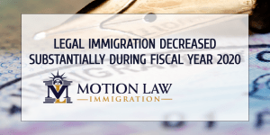 Legal immigration decreased by almost 92% during FY 2020