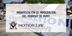 Manifestación de inmigrantes en el día de los trabajadores