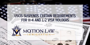 The USCIS suspends biometric requirements to renew H-4 and L-2 visas