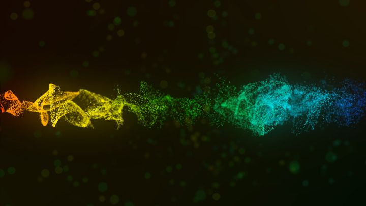 Swirling particles on abstract background