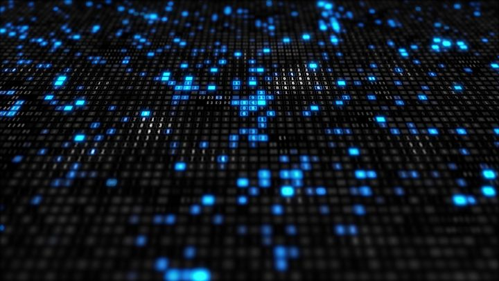 Futuristic information technology background video with blue-black hexadecimals glowing