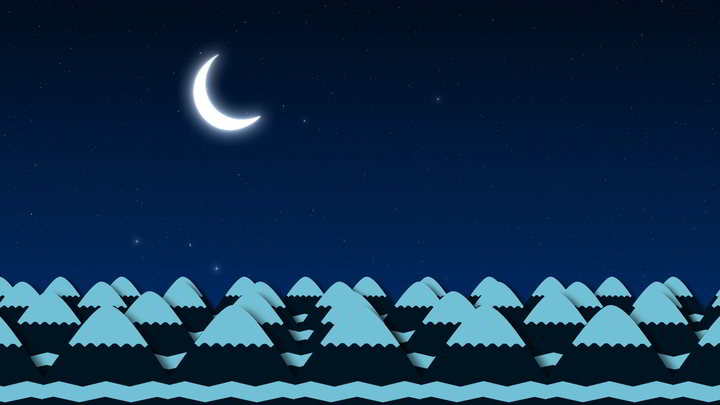 Mountains at Night Cartoon Background