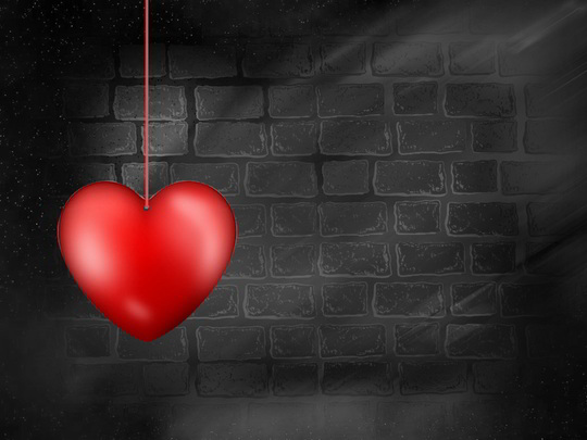 Red Heart Hanging Background