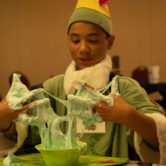 kid with slime on his hands