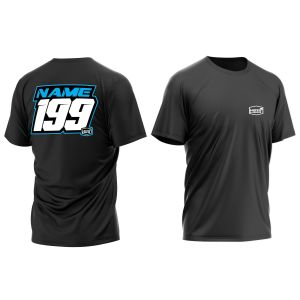 Blue and White Name and Number T-Shirt showing front and back