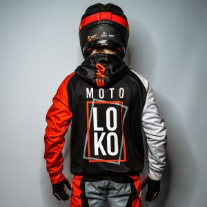 Red Boxed customised motorsports hoodie showing front and back