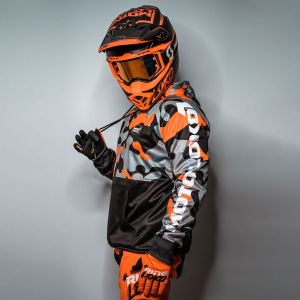 Orange Camo customised motorsports hoodie showing front and back