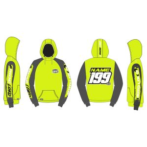 Yellow Brushed customised motorsports hoodie showing front and back