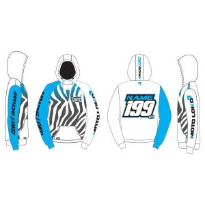 Blue Primal customised motorsports hoodie showing front and back